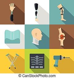 apartamento, estilo, jogo, prosthetics, ortopedia, ícone