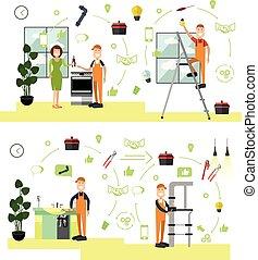 apartamento, estilo, jogo, símbolos, vetorial, profissional, trabalhadores