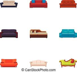 apartamento, estilo, jogo, sofá, modernos, ícone