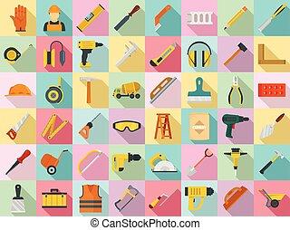 apartamento, estilo, jogo, trabalhador, alvenaria, ícone