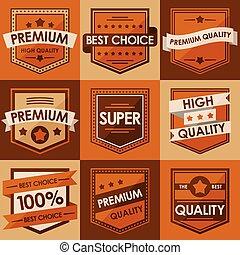apartamento, estilo, jogo, vindima, labels., retro, emblemas