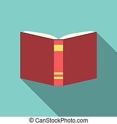 apartamento, estilo, livro, vermelho