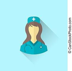 apartamento, estilo, médico, modernos, desenho, enfermeira, sombra, ícone