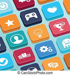apartamento, estilo, móvel, app, -, botões, jogo, vetorial