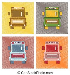 apartamento, estilo, montagem, autocarro, escola, sombreado, ícone