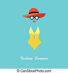 apartamento, estilo, mulher, óculos de sol, ilustração, swimsuit, vetorial