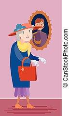 apartamento, estilo, mulher, antigas