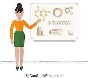 apartamento, estilo, mulher, illustration., negócio, mostrando, isolado, confiante, vetorial, fundo, board., branca, apresentação, diagramas, óculos