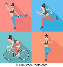 apartamento, estilo, mulher, -, vetorial, condicão física, exercícios