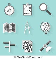apartamento, estilo, navigation., set., branca, ícone