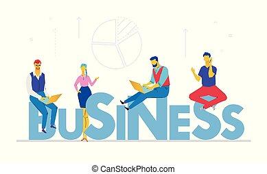 apartamento, estilo, negócio, coloridos, -, ilustração, desenho
