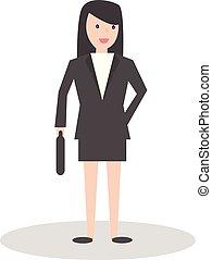 apartamento, estilo, negócio mulher, personagem, ilustração, vetorial, caricatura