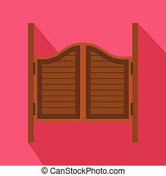 apartamento, estilo, ocidental, portas, ícone, taverna