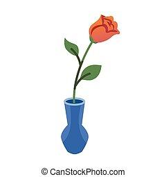 apartamento, estilo, ou, teia, rose., isolado, ilustração, vaso, experiência., vetorial, outro, branca, ícone, qualquer, vermelho, design.