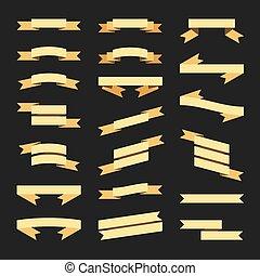 apartamento, estilo, ouro, set., vetorial, bandeiras, fitas