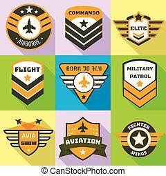 apartamento, estilo, patrulha, jogo, logotipo, militar