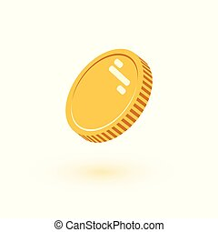apartamento, estilo, pedaço, finanças, ouro, ilustração, dinheiro, moedas, dólar, pile., -, vetorial, fundo, isolado, ícone, branca, moeda, dourado, montão