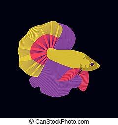 apartamento, estilo, peixe, ilustração, galo, vetorial