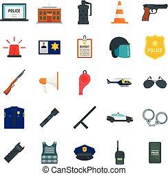 apartamento, estilo, polícia, ícones, jogo, equipamento