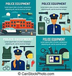 apartamento, estilo, polícia, jogo, equipamento, bandeira