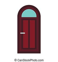 apartamento, estilo, porta, arqueado, madeira, ícone