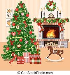 apartamento, estilo, sala, árvore, decorado, fireplace., ...