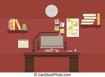 apartamento, estilo, sala, escritório, marrom, cor, gabinete, lugar, impressão