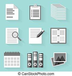 apartamento, estilo, set., branca, paper., ícone