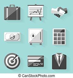 apartamento, estilo, set., business., branca, ícone