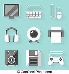 apartamento, estilo, set., computer., branca, ícone