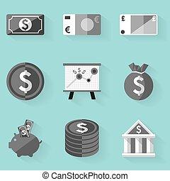 apartamento, estilo, set., dinheiro., branca, ícone