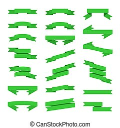 apartamento, estilo, set., vetorial, verde, bandeiras, fitas