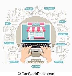 apartamento, estilo, shopping, negócio, online, conceitual