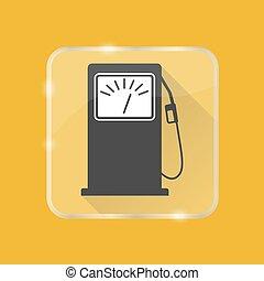 apartamento, estilo, silueta, petrol, botão, estação enchimento, transparente, ícone
