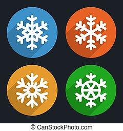 apartamento, estilo, snowflakes, ícones, set., vetorial