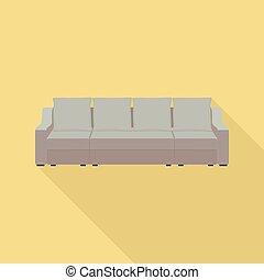 apartamento, estilo, sofá, grande, ícone, travesseiro