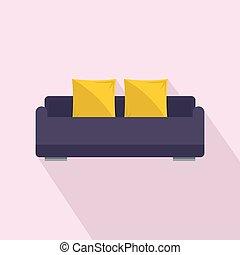 apartamento, estilo, sofá, inglês, ícone, rolo