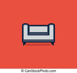 apartamento, estilo, sofá, isolado, fundo, vermelho, ícone