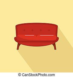 apartamento, estilo, sofá, smoking, ícone, vermelho