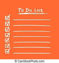 apartamento, estilo, tarefa, lista de verificação, lista, text., ilustração, mão, experiência., vetorial, laranja, desenhado, ícone