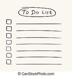 apartamento, estilo, tarefa, lista de verificação, lista, text., ilustração, mão, experiência., vetorial, desenhado, branca, ícone