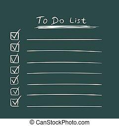 apartamento, estilo, tarefa, lista de verificação, lista, text., ilustração, mão, experiência., vetorial, verde, desenhado, ícone