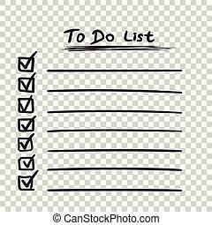 apartamento, estilo, tarefa, lista de verificação, lista, text., isolado, ilustração, mão, experiência., vetorial, desenhado, ícone