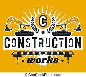 apartamento, estilo, tema, lettering, equipment., isolado, ilustração, letters., machinery., experiência., works., construção, crane., logotipo, escavadores, especiais