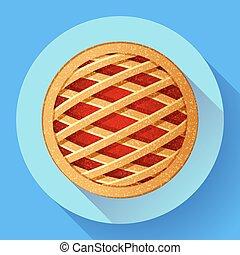 apartamento, estilo, torta maçã, vetorial, projetado, ícone