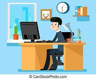 apartamento, estilo, trabalhando escritório, ilustração, vetorial, computer., escrivaninha, homem negócios