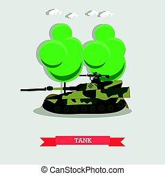 apartamento, estilo, transporte, blindado, tanque, ilustração, vetorial, militar