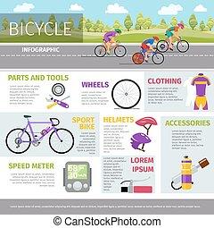 apartamento, estilo, vetorial, bicicleta, infographic, modelo