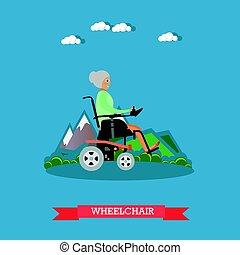apartamento, estilo, vetorial, cadeira rodas, ilustração