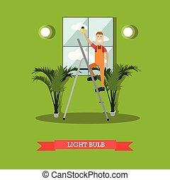 apartamento, estilo, vetorial, eletricista, ilustração